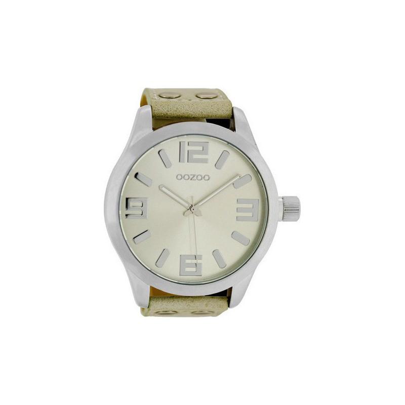 Ρολόι OOZOO C1006 Timepieces Xxl με Μπέζ Δερμάτινο Λουράκι