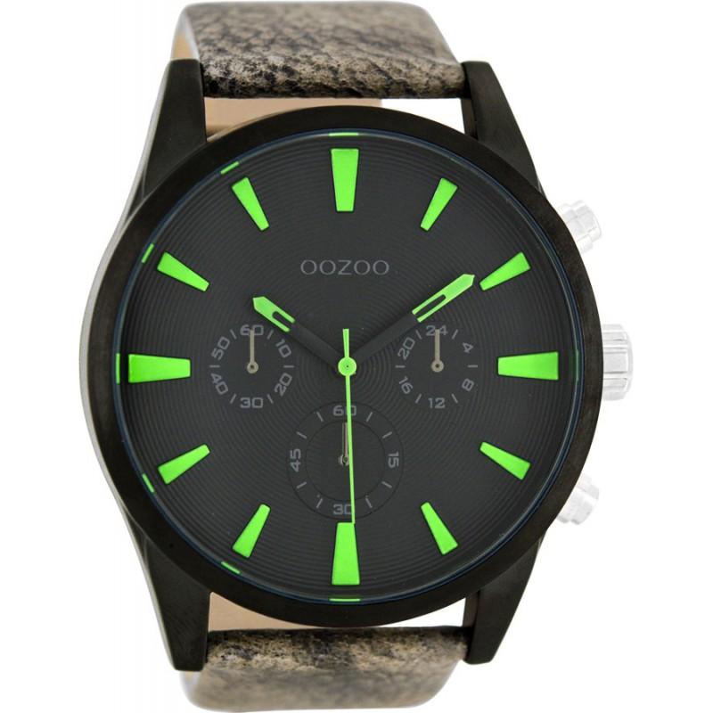 Ρολόι OOZOO C8202 Timepieces Xxl με Καφέ Δερμάτινο Λουράκι