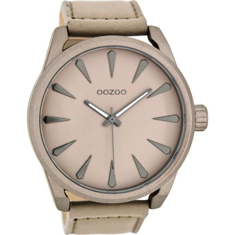 Ρολόι OOZOO C8225 Timepieces Xxl με Μπέζ Δερμάτινο Λουράκι
