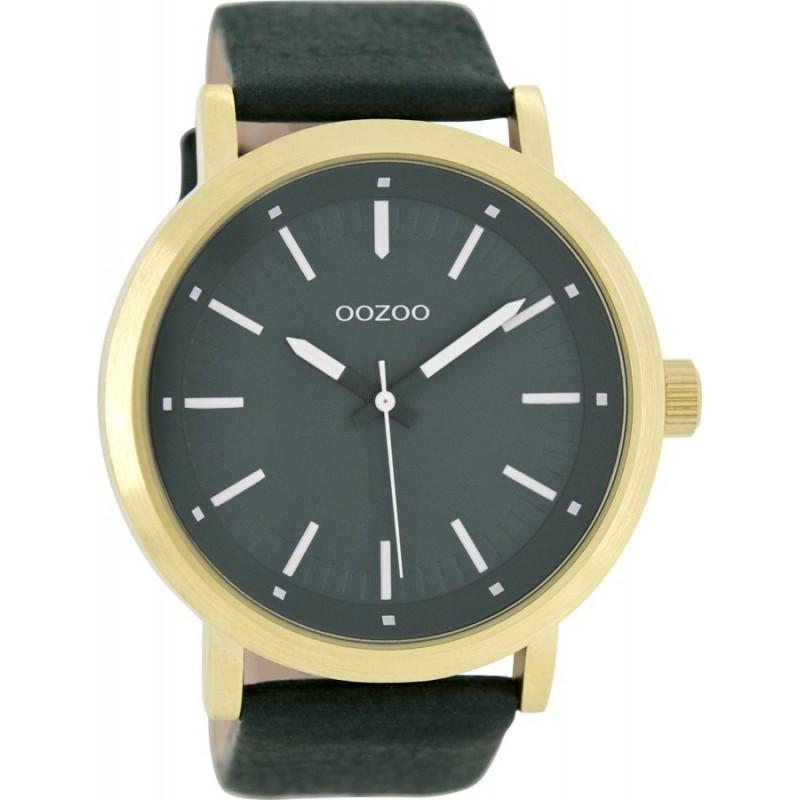 Ρολόι OOZOO C8252 Timepieces Xxl Χρυσό με Πράσινο Δερμάτινο Λουράκι
