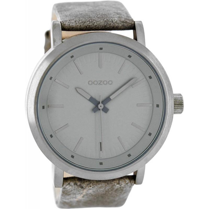Ρολόι OOZOO C8253 Timepieces Xxl με Γκρί Δερμάτινο Λουράκι