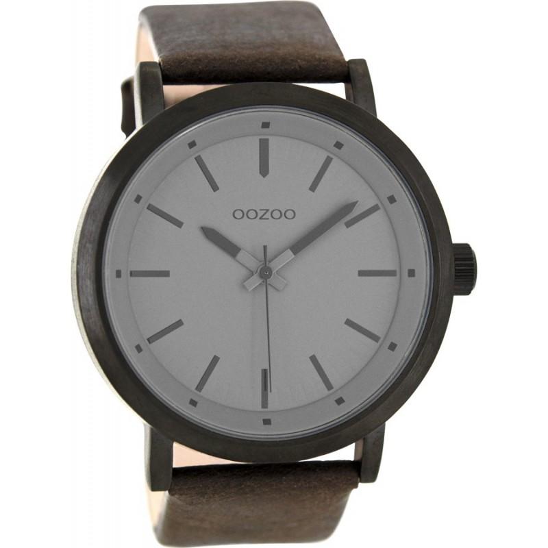 Ρολόι OOZOO C8254 Timepieces Xxl με Καφέ Δερμάτινο Λουράκι