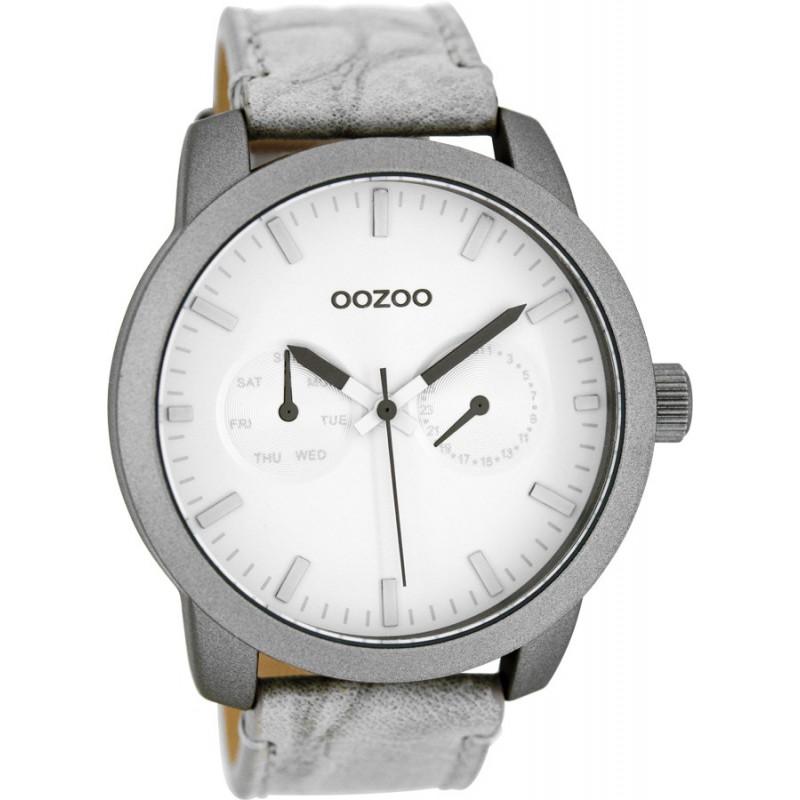 Ρολόι OOZOO C8255 Timepieces Xl με Γκρί Δερμάτινο Λουράκι