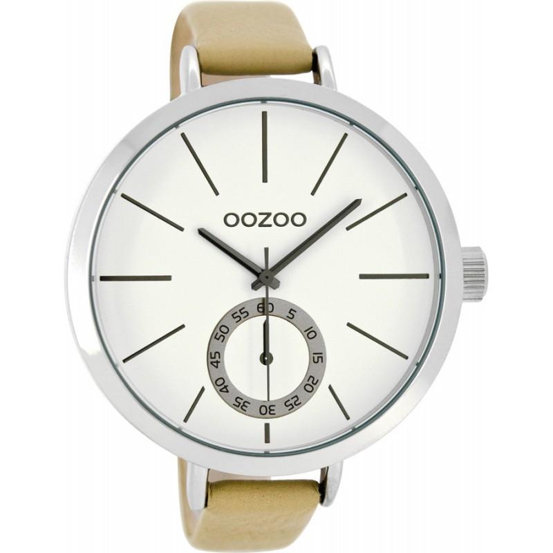 Ρολόι OOZOO C8315 Timepieces Xxl με Μπέζ Δερμάτινο Λουράκι