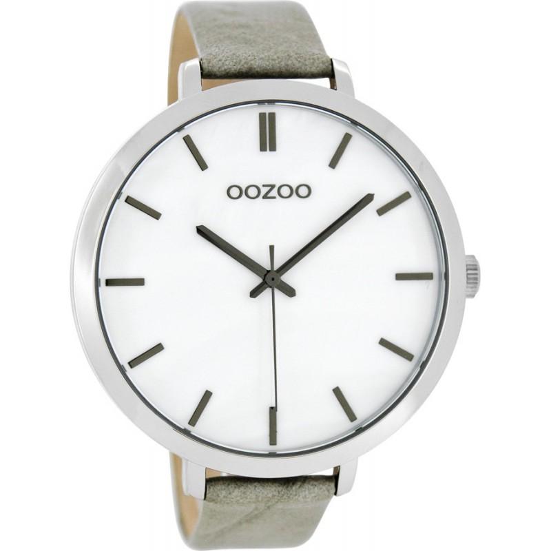 Ρολόι OOZOO C8350 Timepieces Xxl με Γκρί Δερμάτινο Λουράκι
