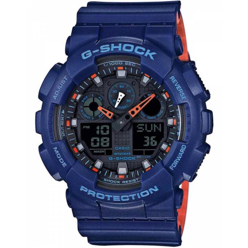Ρολόι CASIO GA-100L-2AER G-Shock με Μπλέ Καουτσούκ Λουράκι