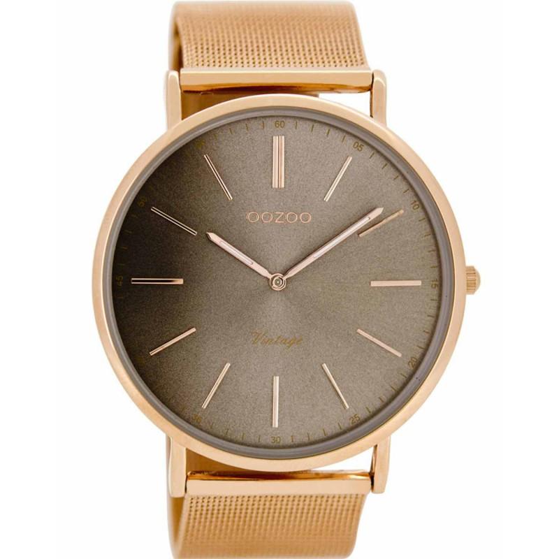 Ρολόι OOZOO C8178 Timepieces Vintage Xl με Ροζ Χρυσό Μεταλλικό Λουράκι