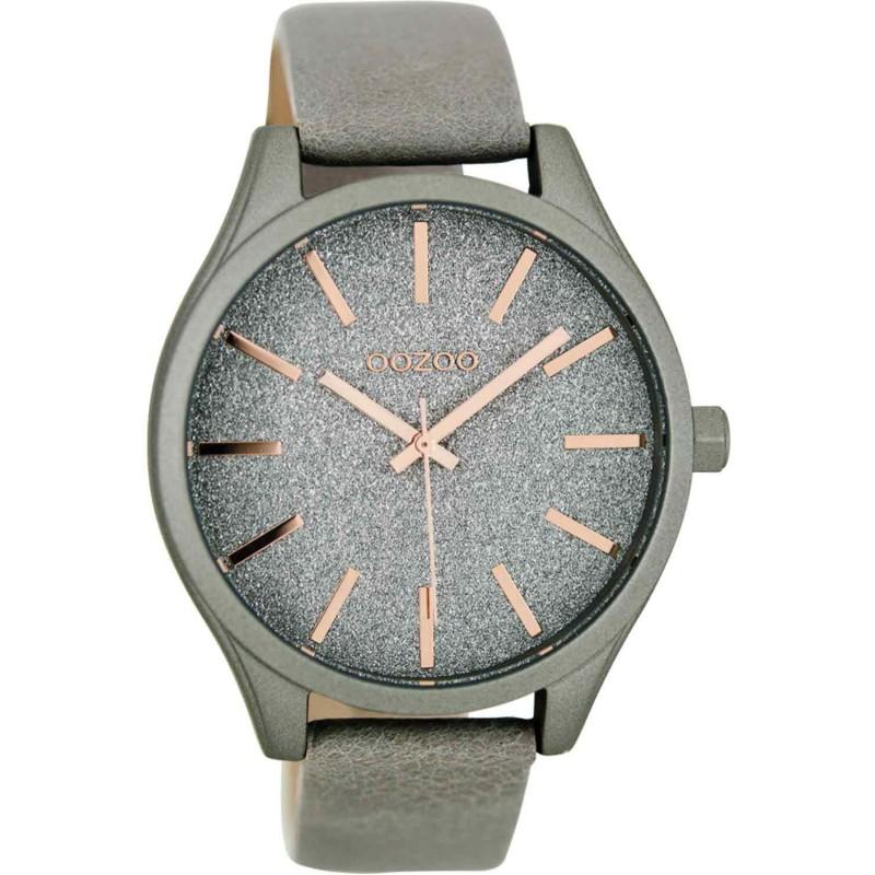 Ρολόι OOZOO C8440 Large Timepieces με Γκρί Δερμάτινο Λουράκι