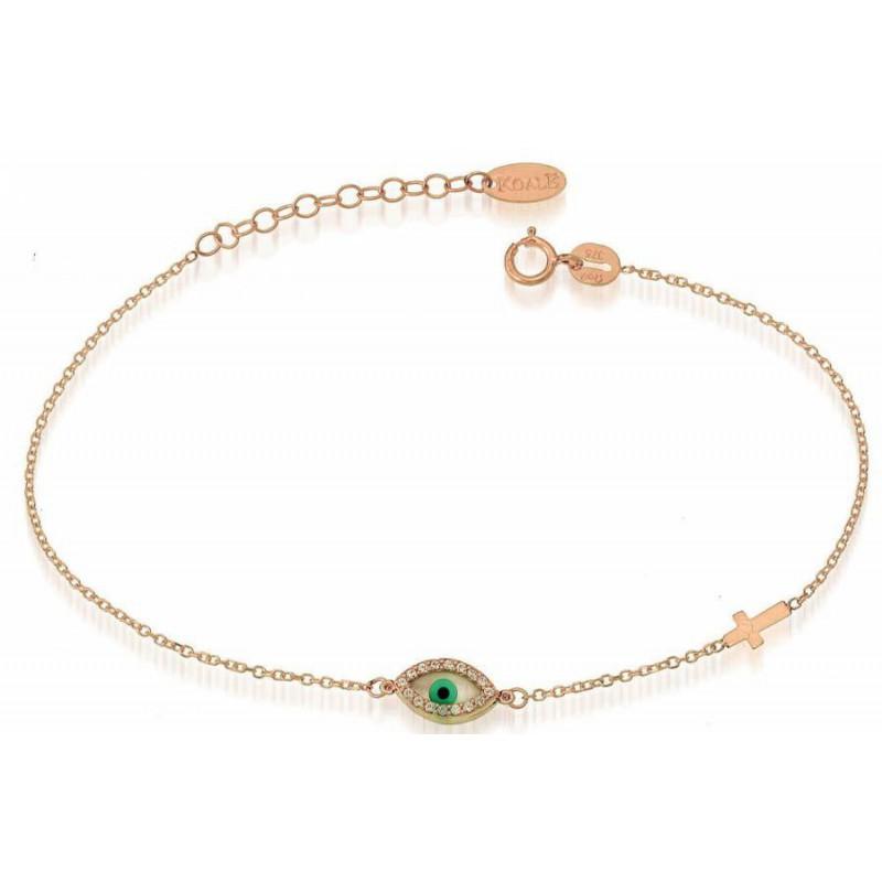 Γυναικείο Ροζ χρυσό βραχιόλι BRTR11091 μάτι-σταυρός