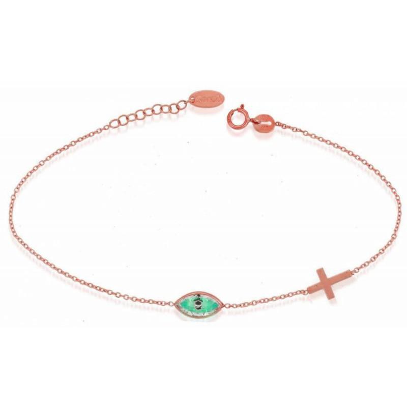 Γυναικείο Ροζ- Χρυσό βραχιόλι BRTR11001 μάτι-σταυρός
