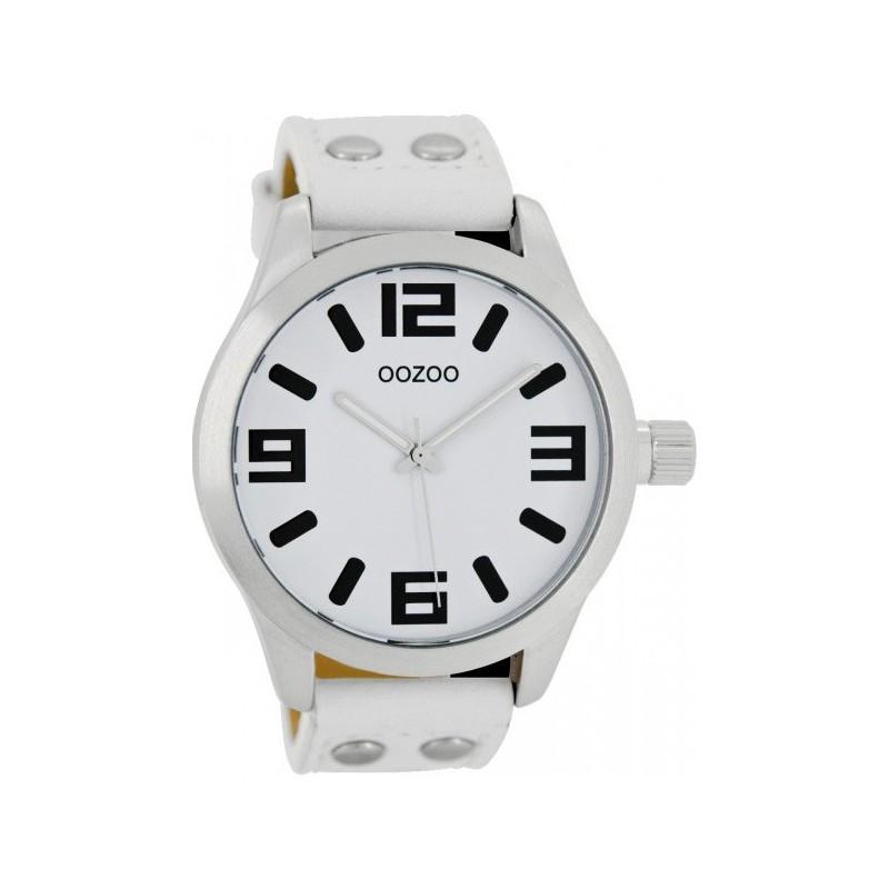 Ρολόι OOZOO C1050 Small Τimepieces με Λευκό Δερμάτινο Λουράκι