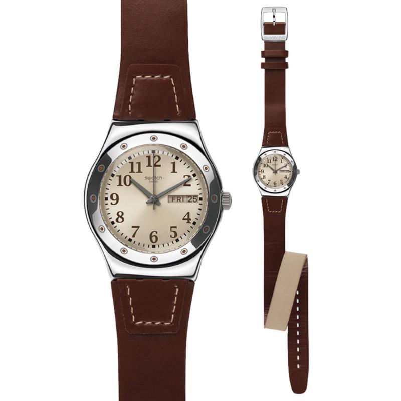 Ρολόι SWATCH YLS712 Doublewrap με Καφέ Δερμάτινο Λουράκι