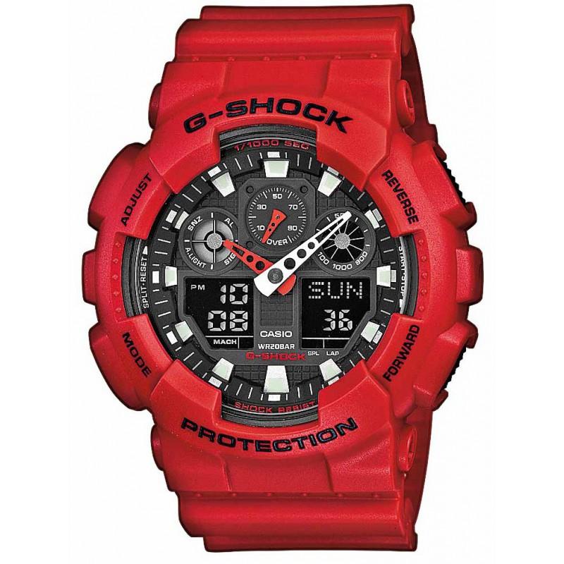 Ρολόι CASIO GA-100B-4AER G-Shock με Κόκκινο Καουτσούκ Λουράκι
