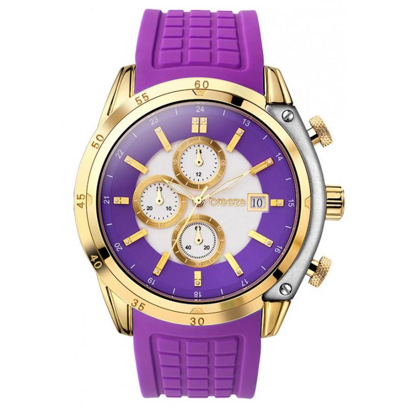 Ρολόι BREEZE 110151.6 Stylish Tech Χρυσό με Μωβ Καουτσούκ Λουράκι και με Χρονογράφο