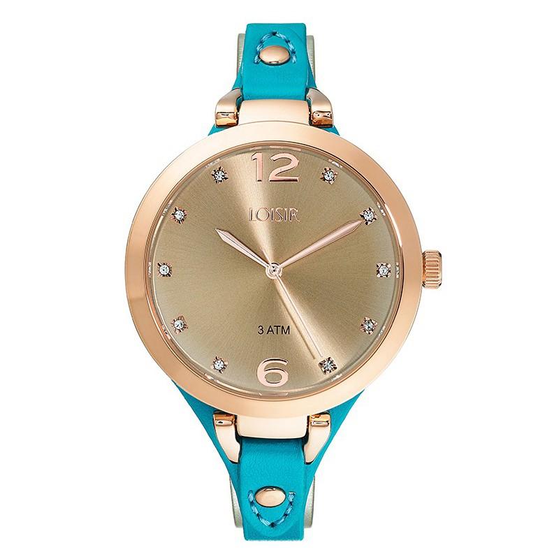 LOISIR Rose Gold Blue Leather Strap 11L65-00080