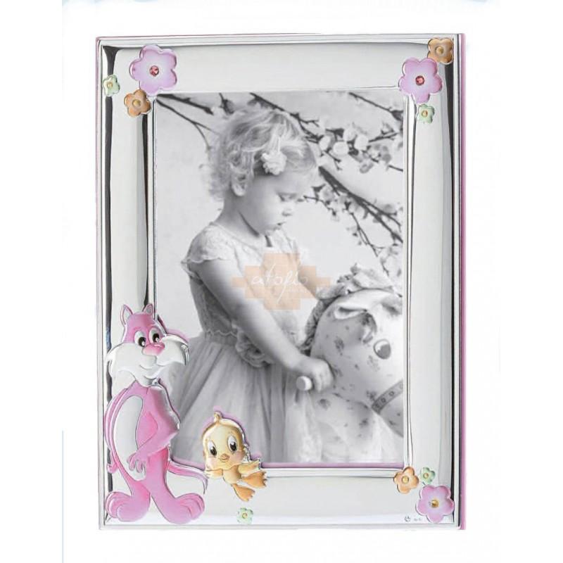 Ασημένια παιδική κορνίζα 13X18cm για κορίτσι MA/132/BR