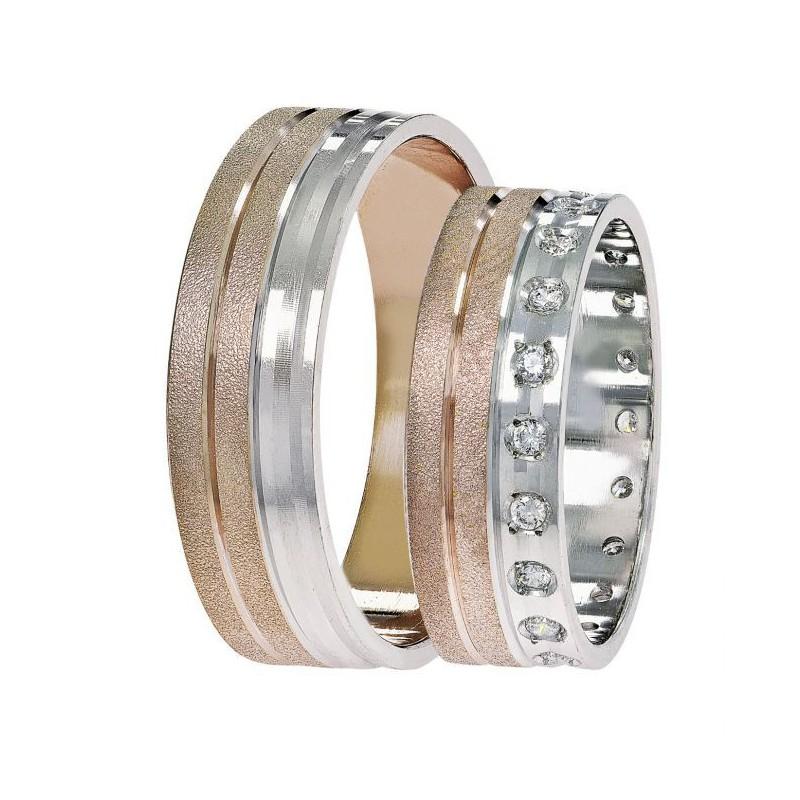 Λευκόχρυση Ροζ Χρυσή βέρα  SAT10 Aντρική/Γυναικεία βερα για Γάμο/Αρραβώνα 9 καρατίων