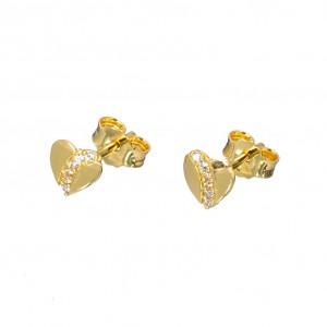 Χρυσά σκουλαρίκια καρδιά SK364