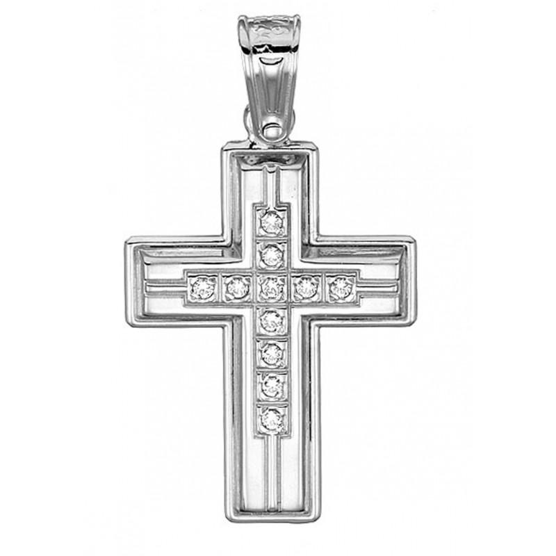 Λευκόχρυσος σταυρός ST149 Σταυρός για γυναίκα/κορίτσι βαπτίσης/αρραβώνα 9 καρατίων