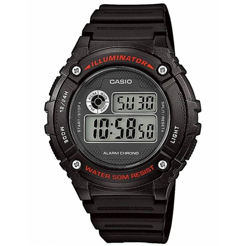 Ρολόι CASIO W-216H-1AVEF Collection με Μαύρο Καουτσούκ Λουράκι