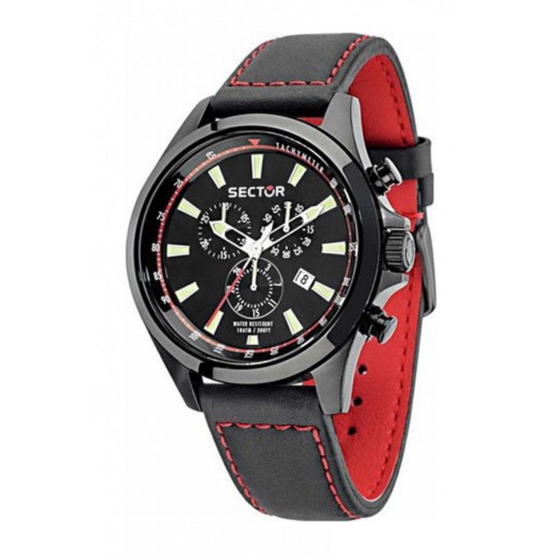 Ρολόι SECTOR R3271690012 180 με Μαύρο Δερμάτινο Λουράκι και με Χρονογράφο