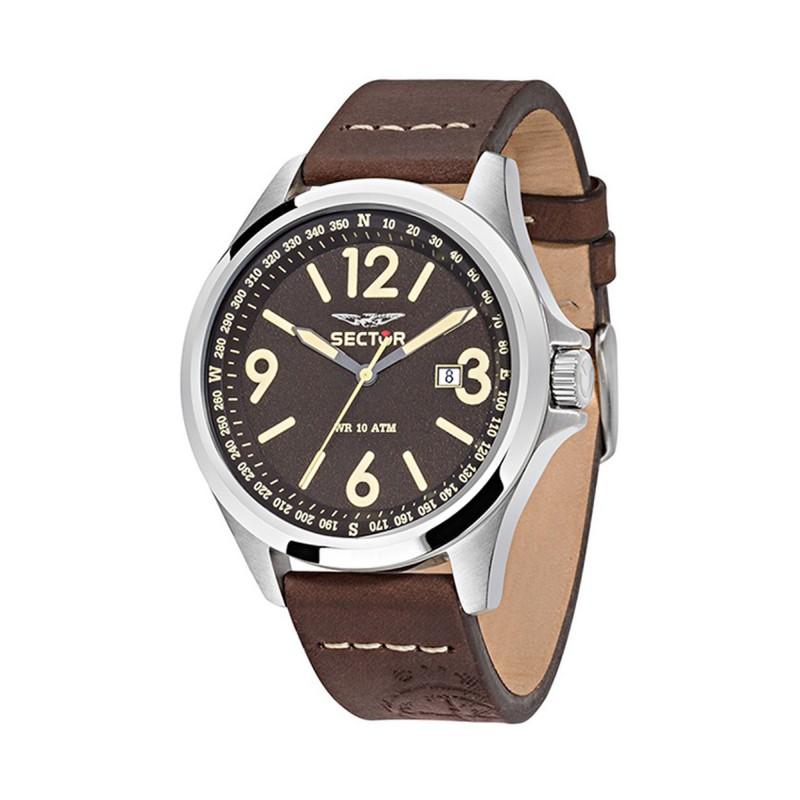 Ρολόι SECTOR R3251180009 με Καφέ δερμάτινο λουράκι και ατσάλινο καντράν