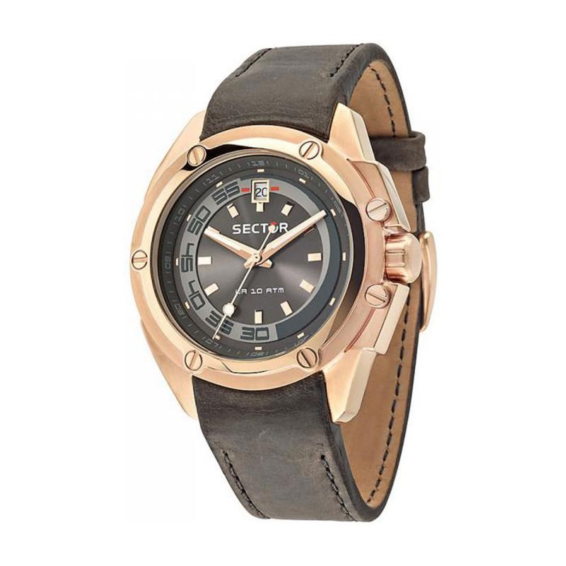 Ρολόι SECTOR R3251581002 950 με Ροζ Χρυσό με Καφέ Δερμάτινο Λουράκι