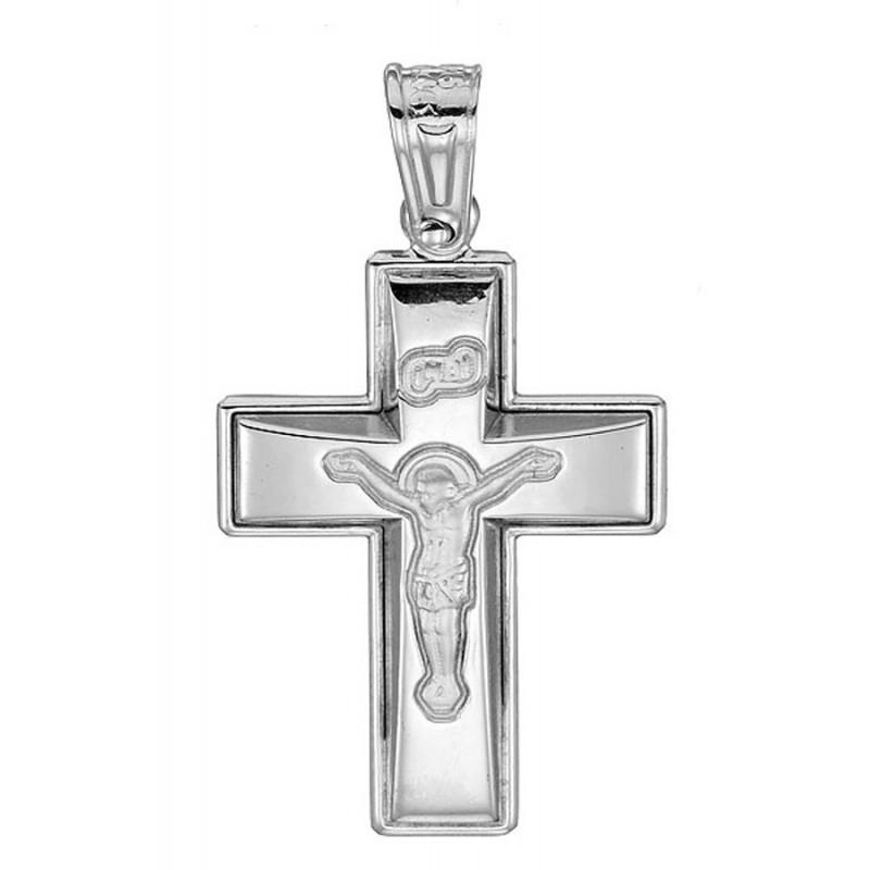 Λευκόχρυσος  σταυρός σε 14 καράτια με εσταυρωμένο ST119MOYX