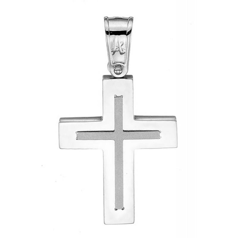 Λευκόχρυσος σταυρός 14 καρατίων ST132BAR9