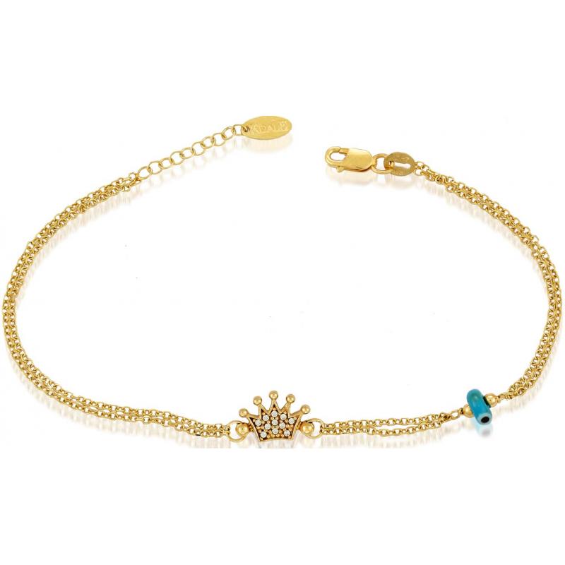 Γυναικείο Χρυσό βραχιόλι με κορώνα BRA11020