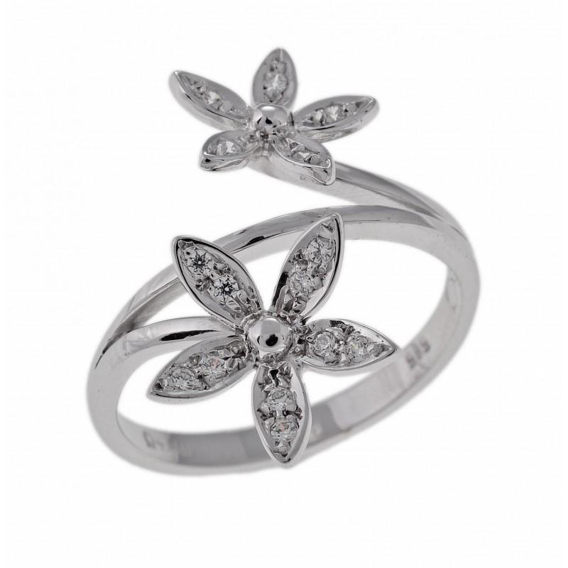 Λευκόχρυσο γυναικείο  δαχτυλίδι 14 καρατίων 30040