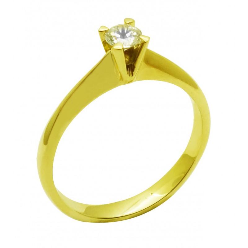 Χρυσό γυναικείο  δαχτυλίδι μονόπετρο   R557 14 καρατίων