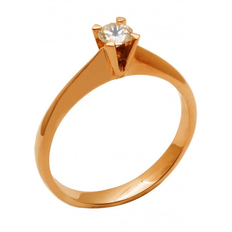 Ροζ-χρυσό  γυναικείο δαχτυλίδι RK557 14 καρατίων