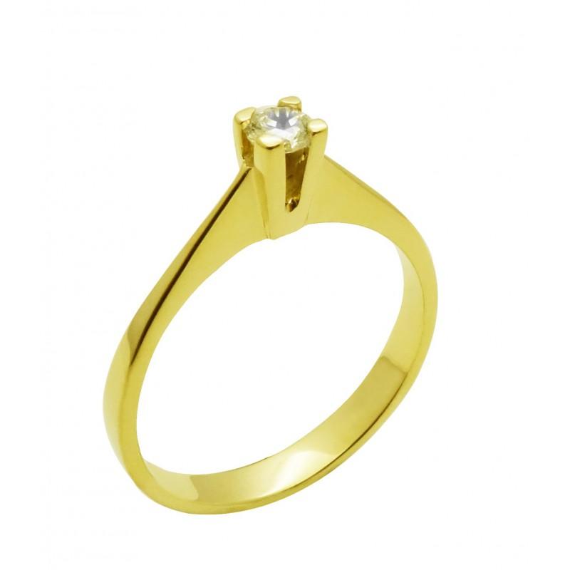 Χρυσό  γυναικείο μονόπετρο δαχτυλίδι  R576