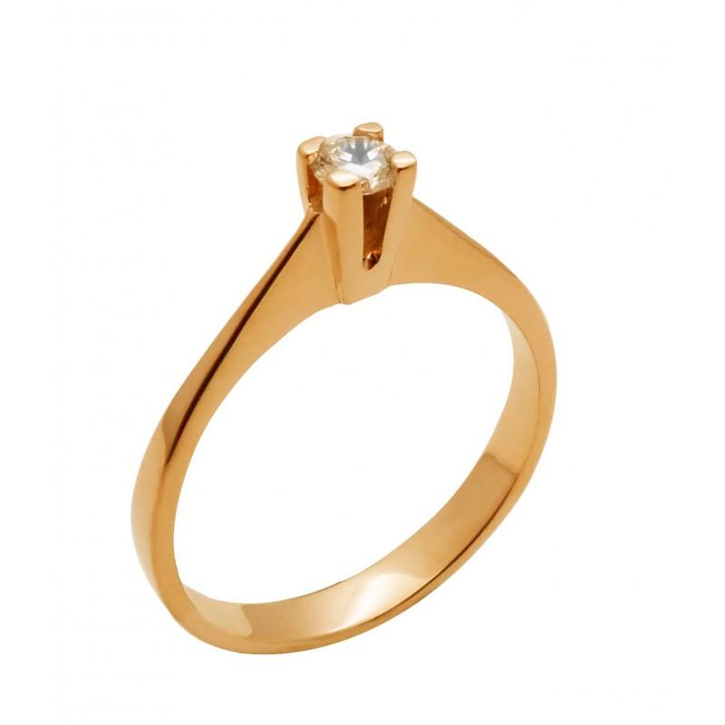 Ροζ χρυσό γυναικείο δαχτυλίδι  RK576  14 καρατίων