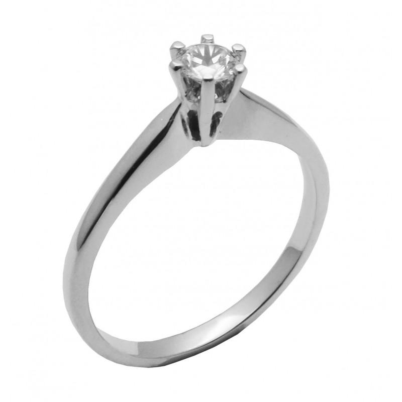 Λευκόχρυσο μονόπετρο δαχτυλίδι με ζιργκόν 14καρατίων R648