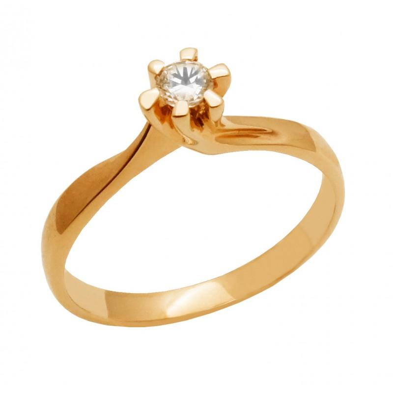 Ροζ χρυσό  γυναικείο δαχτυλίδι μονόπετρο 14 καρατίων  RK649