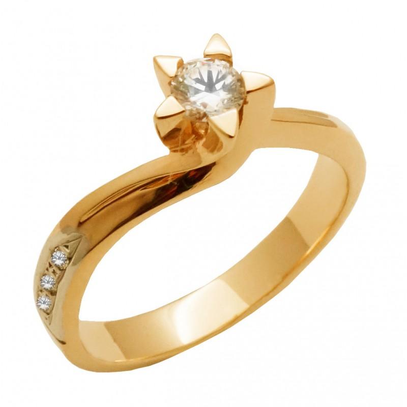 Ροζ-Χρυσό μονόπετρο γυναικείο δαχτυλίδι RK537 14 καρατίων
