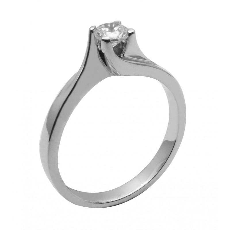 Λευκόχρυσο μονόπετρο δαχτυλίδι με ζιργκόν 14καρατίων R662