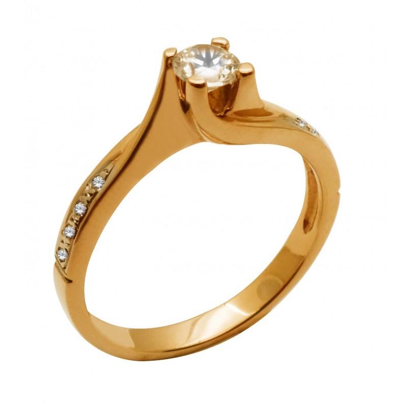 Ροζ-χρυσό γυναικείο  δαχτυλίδι  μονόπετρο 14 καρατίων  RK662P