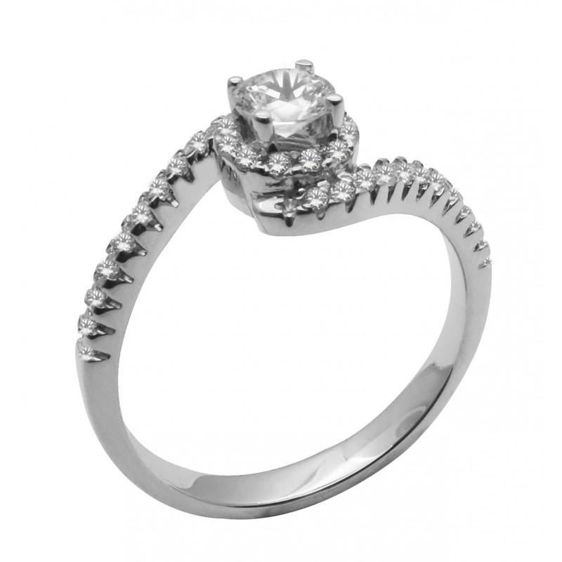 Λευκόχρυσο  γυναικείο δαχτυλίδι μονόπετρο 14 καρατίων R671