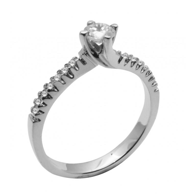 Λευκόχρυσο γυναικείο μονόπετρο δαχτυλίδι με ζιργκόν 14καρατίων R674