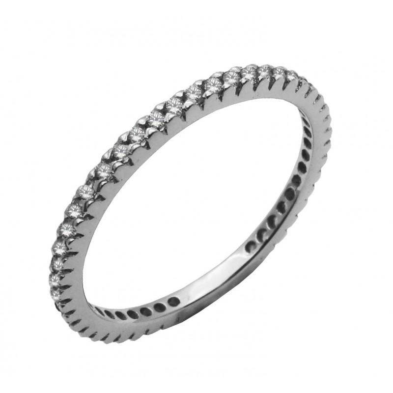 Λευκόχρυσο γυναικείο ολόβερο δαχτυλίδι με ζιργκόν 9καρατίων R744