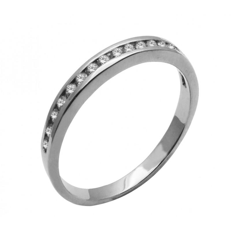 Λευκόχρυσο γυναικείο μισόβερο  δαχτυλίδι με ζιργκόν 14καρατίων R723