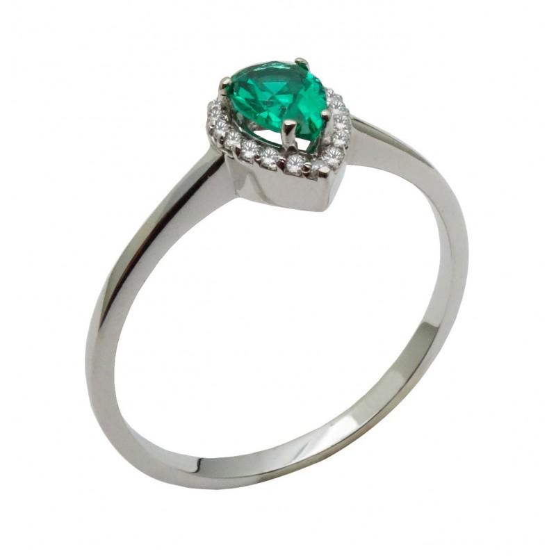 Λευκόχρυσο  δαχτυλίδι  ροζέτα με πράσινη πέτρα 14καρατίων R692