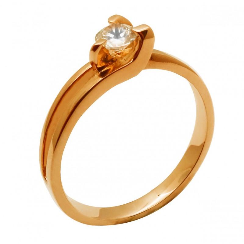 Ροζ-χρυσό γυναικείο δαχτυλίδι μονόπετρο 14καρατίων  RK709