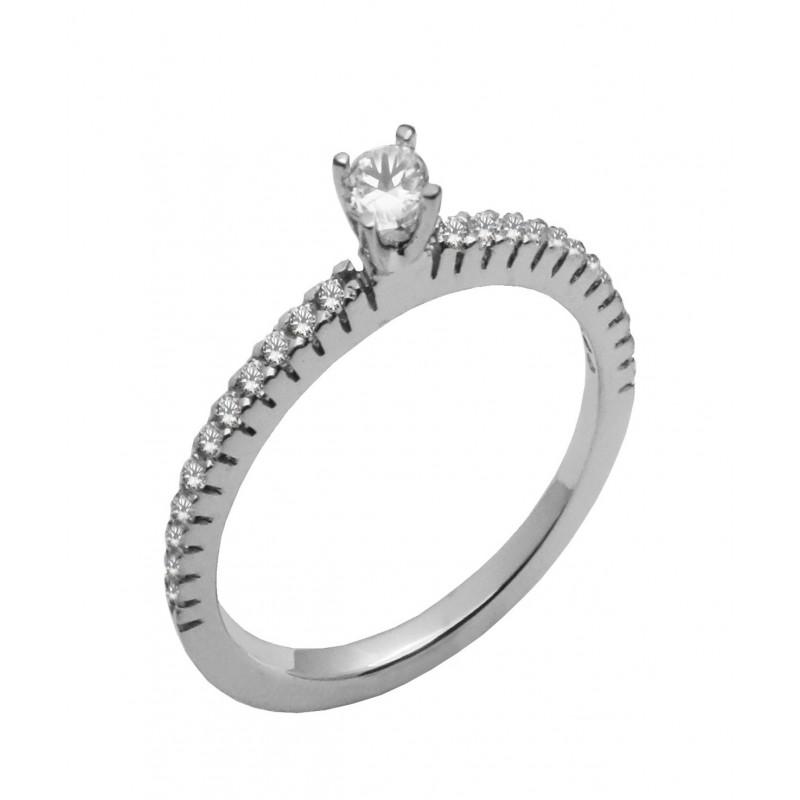 Λευκόχρυσο γυναικείο δαχτυλίδι 9 καρατίων R718