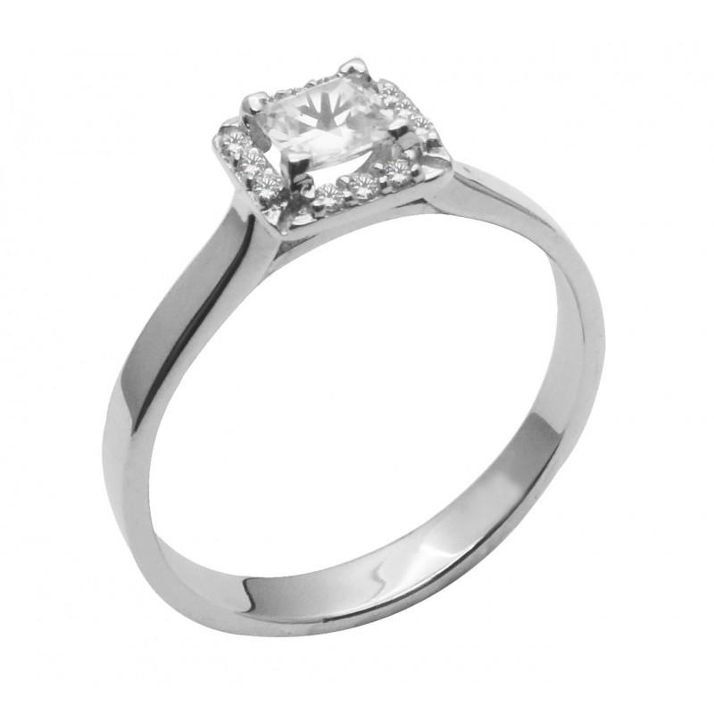 Λευκόχρυσο μονόπετρο δαχτυλίδι  14καρατίων RL739