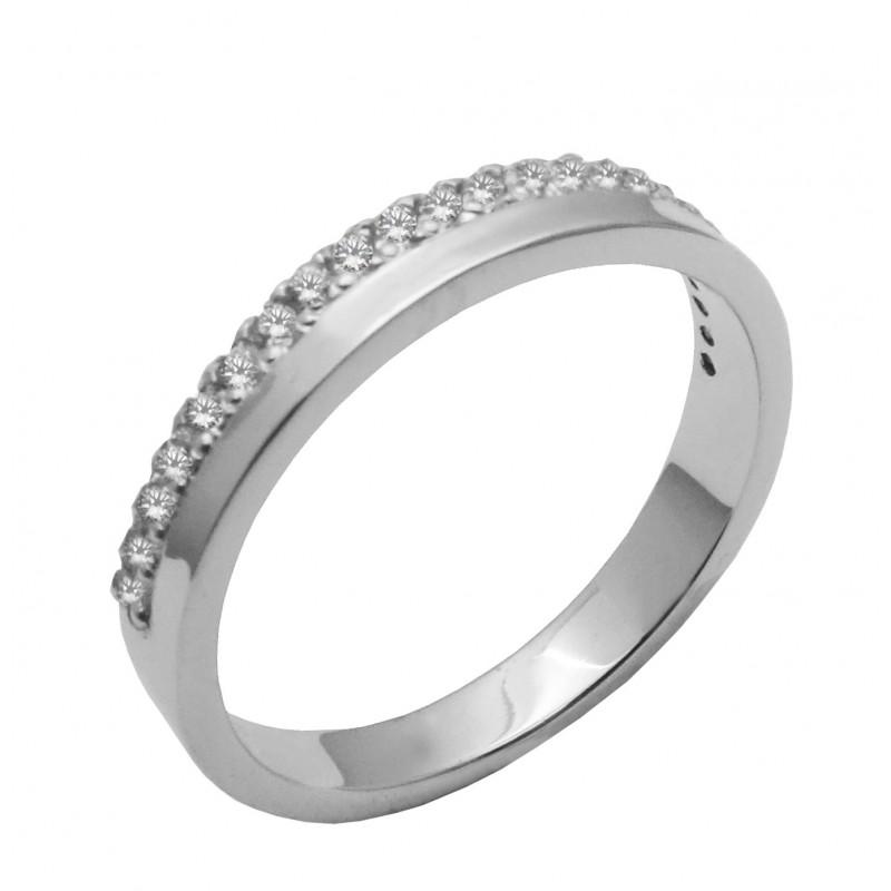 Λευκόχρυσο μισόβερο δαχτυλίδι 14καρατίων R748