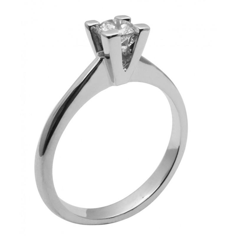 Λευκόχρυσο μονόπετρο δαχτυλίδι  14καρατίων R749